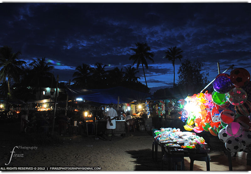 Local shops at dusk, Shanghumugham, Thiruvananthapuram, India