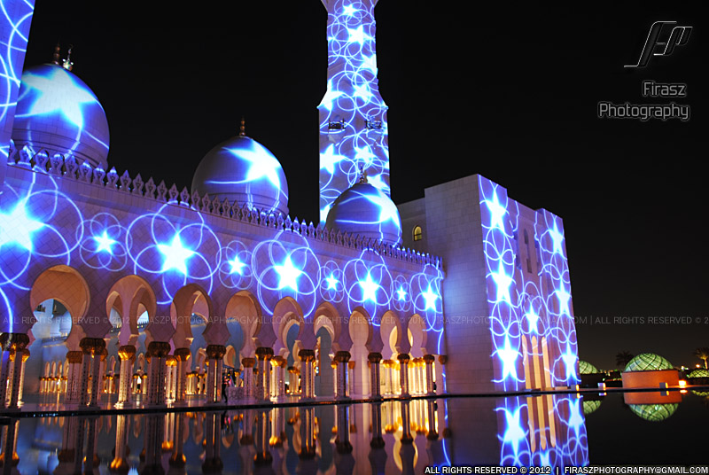 When laser lights beamed on Sheikh Zayed Grand Mosque, Abu Dhabi -3